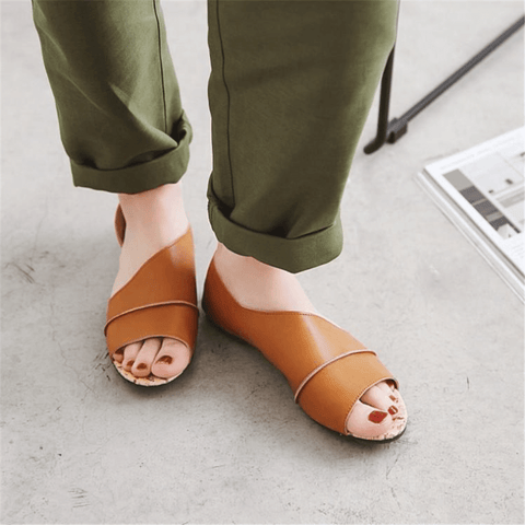 Fashion Simple Fish Mouth Flat Sandals