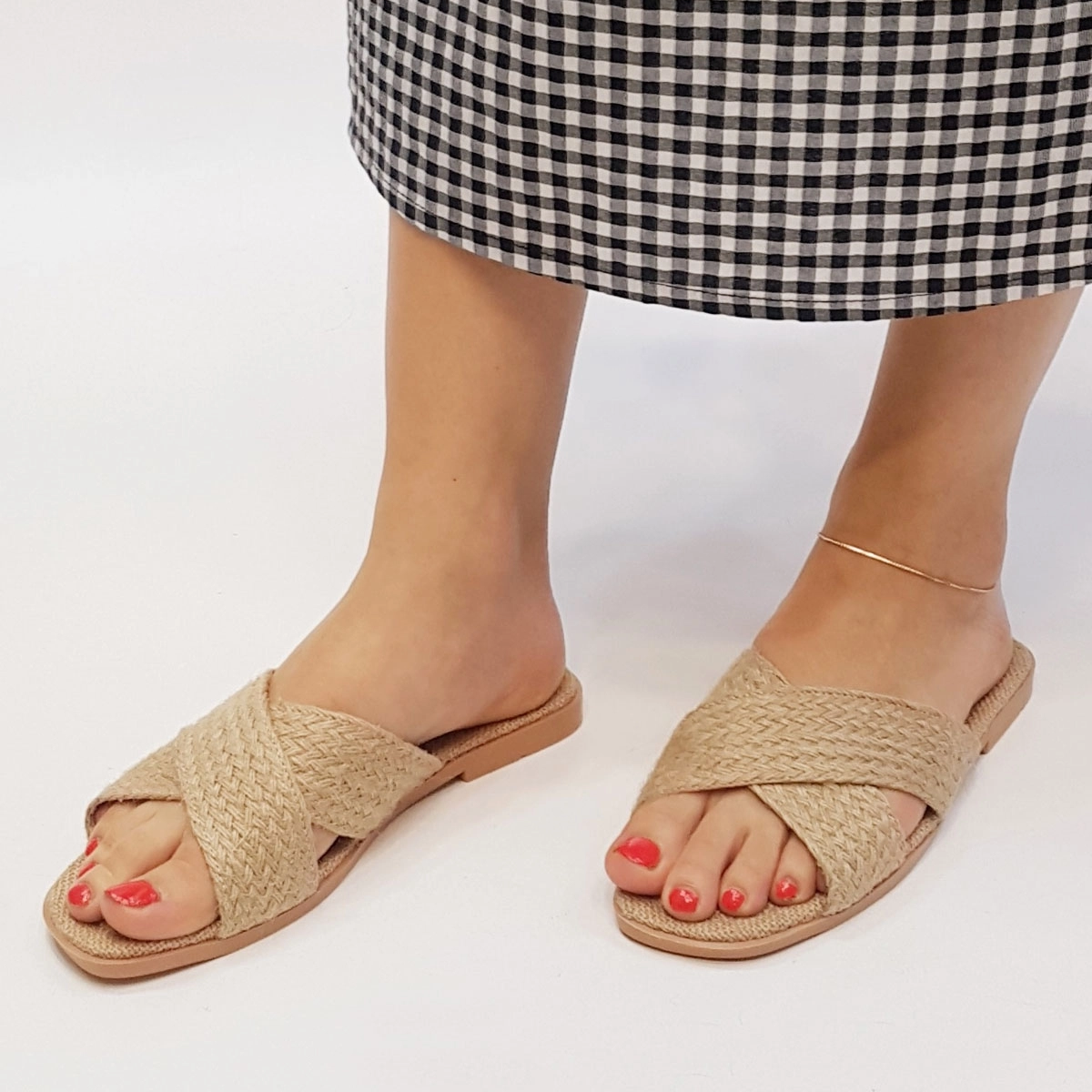 Casual Decussated Pure Color Peep-Toe Knitted Slippers Sandals