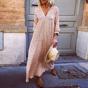 Fashion Vacation V-Neck Flower Print Loose Casual Maxi Dress