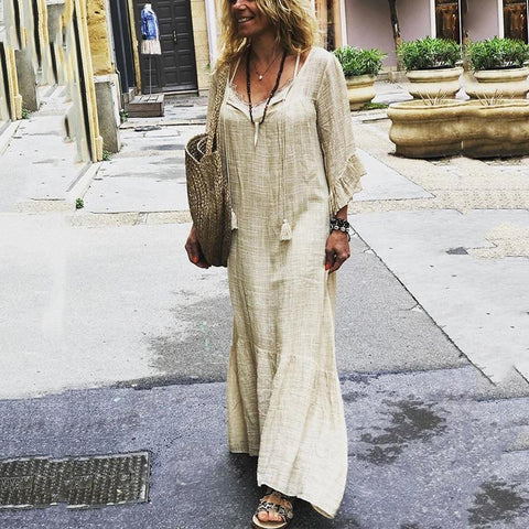 Solid Color V-Neck Pleated Wavy Side Loose Casual Maxi Dress