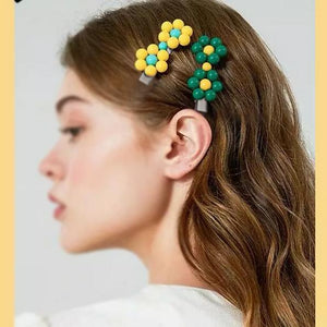 Painted Acrylic Bead Flower Hair Clip Jewelries