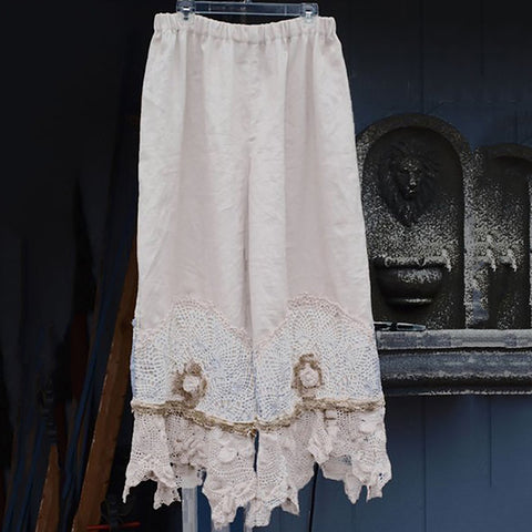 Fashion Elastic Cotton Linen Embossed Loose Pants