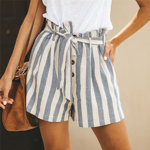 Summer Striped Stitching Short Pants