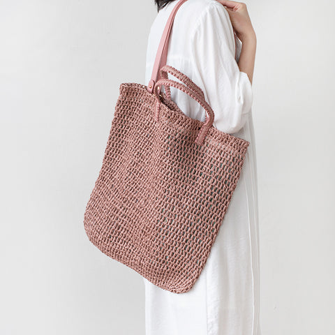 Pastoral Style Hollowed-Out Straw Bag Beach Bag Shoulder Bag Clutch Bag