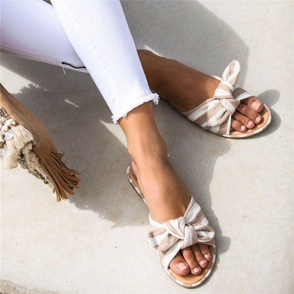 Casual Wild One-Piece Open Toe Bow Slippers
