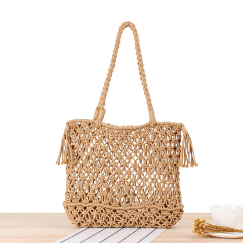 Pastoral Style Fashion Hollowed-Out Design Straw Bag Beach Bag Shoulder Bag Clutch Bag