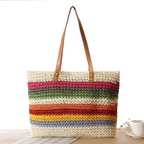 Casual Iridescence Contrast Color Knitted Bag Beach Bag Clutch Bag