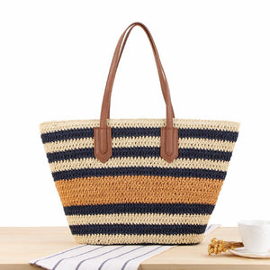 Korean Style Stripe Contrast Color Knitted Bag Beach Bag Clutch Bag