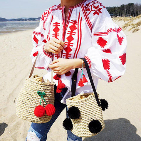 Korean Style Cute Cherry Round Ball Knitted Bag Messenger Bag Shoulder Bag