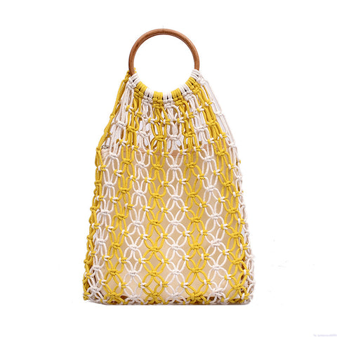 Color Matching Woven Geometric Handbag