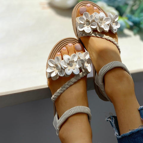 Women's Flower Embellished Stud Braided Detail Sandals