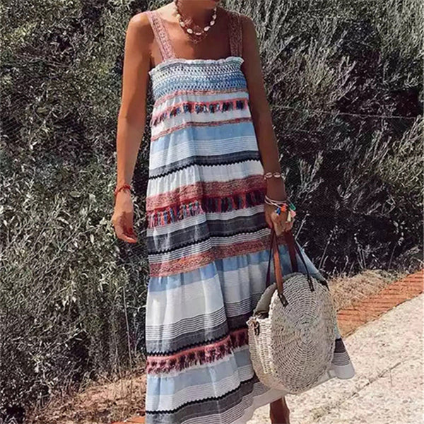 Fashion Strap Fringe Striped Printed Dresses