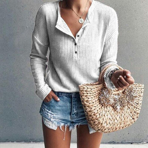 Casual Button V-Neck Solid Color Long Sleeve Sweater