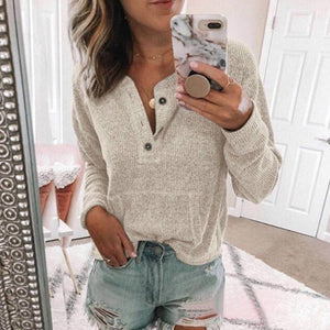 Casual Pure Color Long Sleeves Sweater