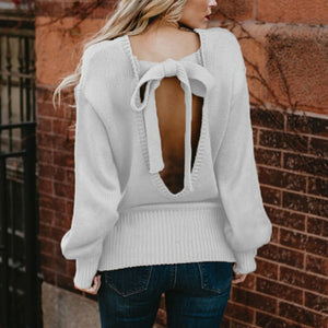 Round Neck Long Sleeve Pure Colour Bowknot Bare Back Sweater