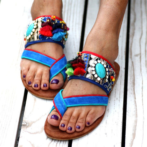 Bohemian Color Toe Flat Slippers