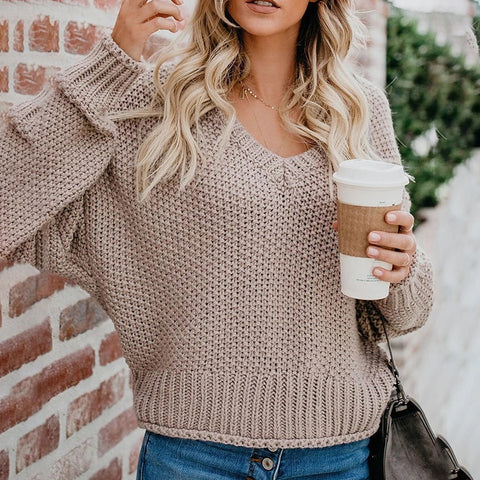 Casual Loose Curled V-Neck Solid Color Sweater