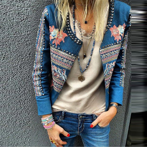 Fashion Printed Studded Long Sleeve Slim Jackets
