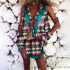 Europe And America Style V Neck Sleeveless Tassel Printed Colour Bowknot Mini Dress