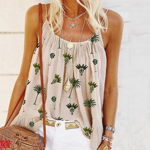 Sweet Spaghetti Strap Printed Colour Ruffled Tank Top