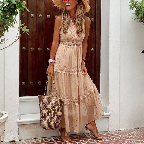 Elegant V Neck Ruffled Splicing Lace Long Casual Maxi Dress