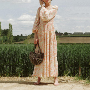 Sweet V-Neck Lantern Long Sleeve Floral Long Casual Maxi Dress