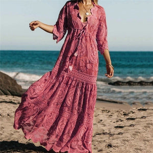 Casual Embroidery V Neck Three-Quarter Sleeve Dress