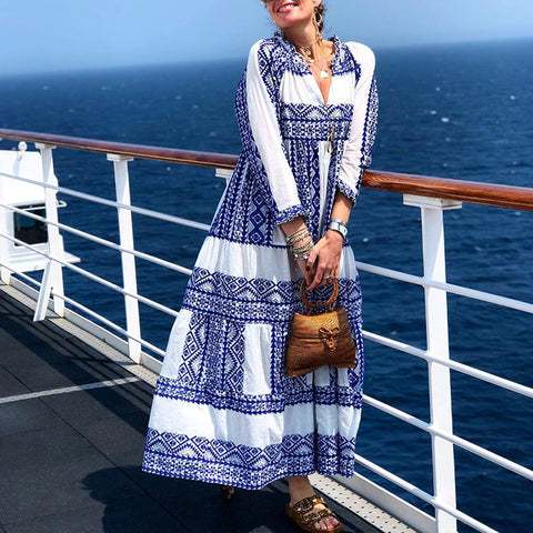 Casual Printed Deep V Neck Loose Ankle-Length Vacation Maxi Dress