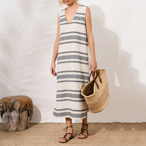 Casual V-Neck Striped Slit Sleeveless Vacation Maxi Dress