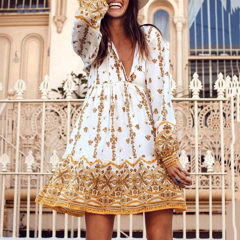 Casual Belted V Neck Long Sleeve Printed Colour Mini Dress