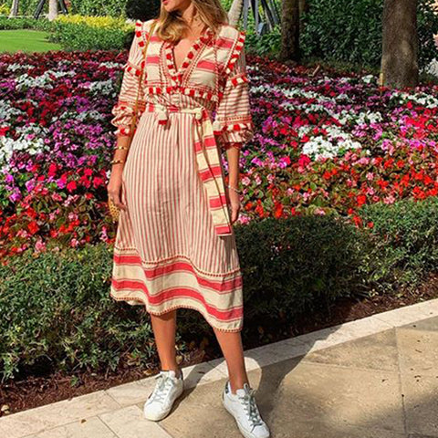 Fashion Casual Striped V Neck Three-Quarter Sleeves Vacation Maxi Dress