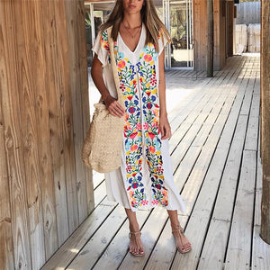 Vacation Casual Loose Printed V-Neck Short Sleeve Dress