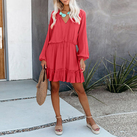 V-Neck Plain Long Sleeve Ruched Dress