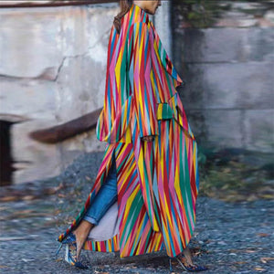 Fashion Split Stripe Contrast Color Long Coat