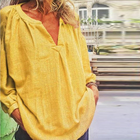 Casual Plain Loose Fitting V Neck Long Sleeves Blouse
