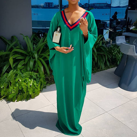 Casual V Neck Kimono Sleeves Maxi Dress