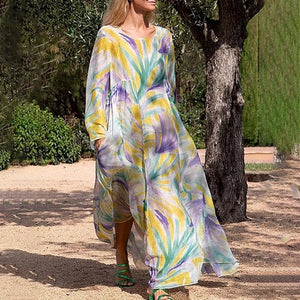European And American Style Round Neck Long Sleeve Printed Colour Maxi Dress