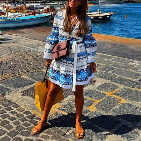 Vacation Flared Sleeve Geometric Print Lace-Up Mini Dress