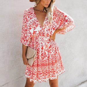 Sweet Elasitc Waist Deep V Batwing Sleeve Floral Printed Mini Dress