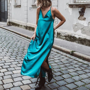 Sexy Deep V Neck Ankle-Length Side Slit Sling Casual Maxi Dress