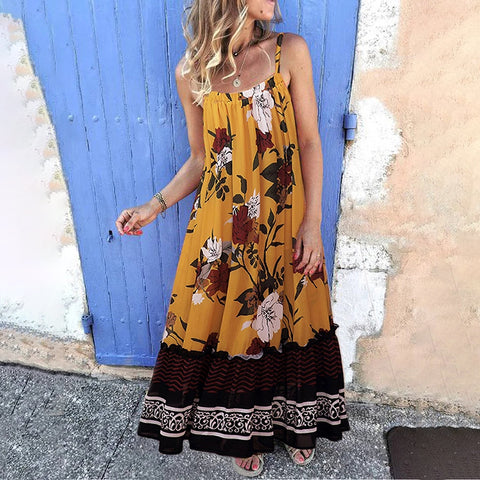 Cute Sling Sleeveless Printed Colour Off-Shoulder Casual Maxi Dress