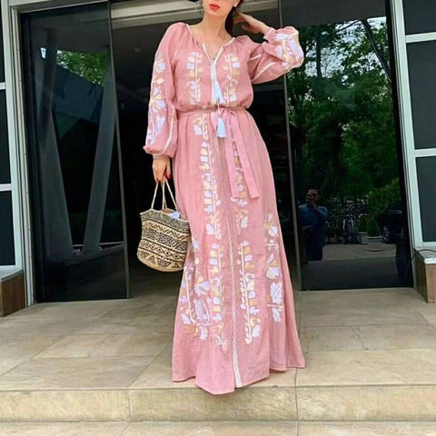 Casual V Neck Long Sleeve Printed Colour Tassel Belted Maxi Dress