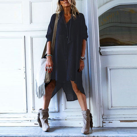Casual V Neck Pure Colour Loose Dress
