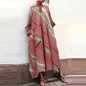 Casual Round Neck Stripe Loose Vacation Maxi Dress