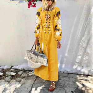 Casual Sweet Round Neck Printed Color Bubble Sleeves Belt Maxi Dress