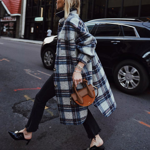 Classic Check Turndown Collar Flap Pockets Long Coat(Video)