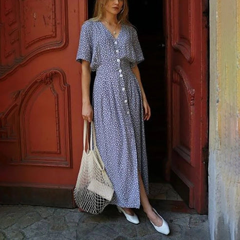 Casual Printed V Neck Single Breasted Vacation Maxi Dress
