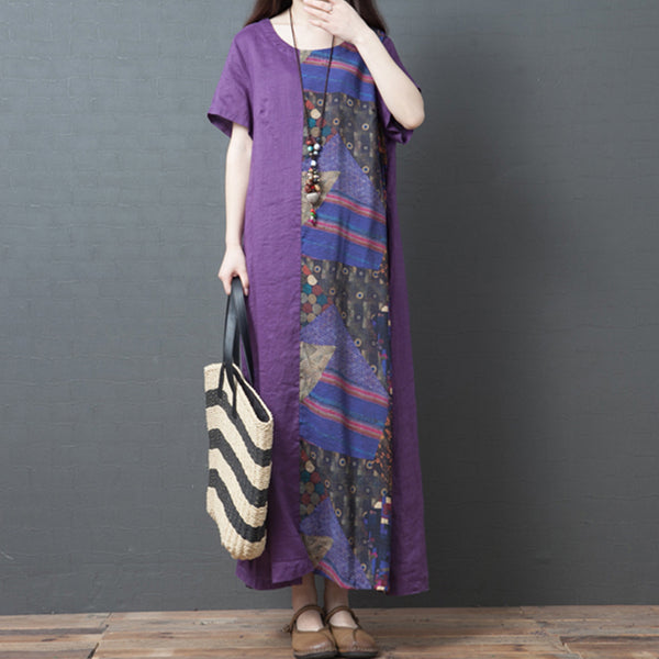 Literary Cotton And Linen Round Neck Long Casual Maxi Dress