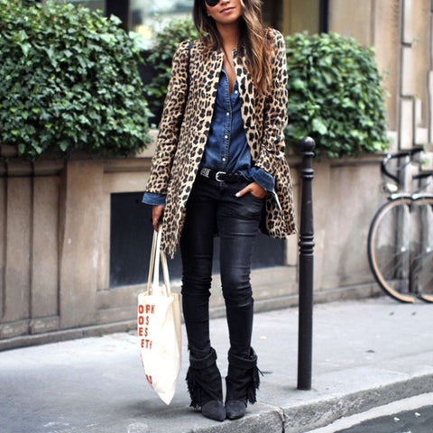 Fashion Leopard Print Long Sleeve Loose Coat