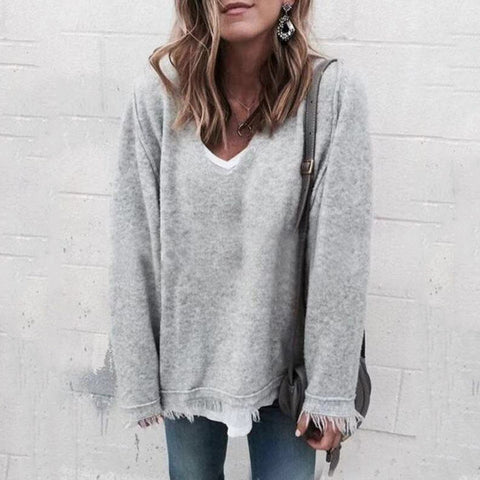 Casual V Neck Long Sleeve Pure Color Sweater